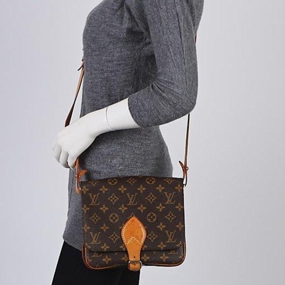 Auth Louis Vuitton Cartouchiere MM monogram